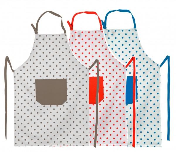 Küchenschürze, Punkte in 3 Farben/ 100% Baumwolle