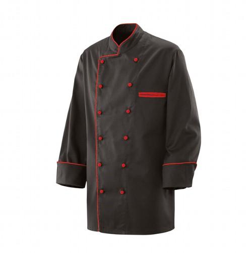 Kochjacke schwarz mit farbiger Paspel Gr. S - 5XL, Modell 207 von Exner