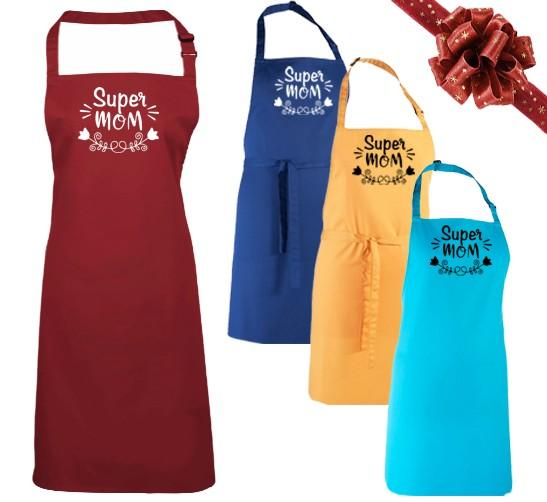 """Kochschürze """"Super Mom """" in verschiedenen Farben"""