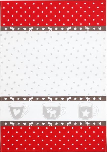 Geschirrtuch Weihnachtstassen Jacquard/100% Baumwolle/ 45x70cm
