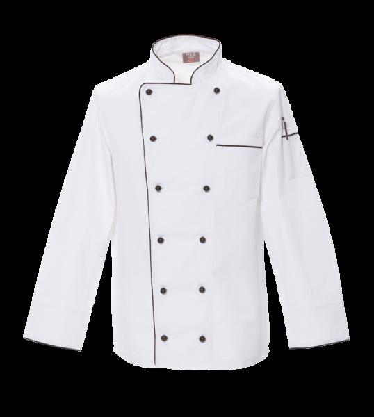 Basic Kochjacke Weiß mit farbiger Paspel