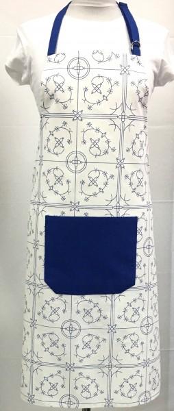 Latzschürze Indisches Blau 100% Baumwolle