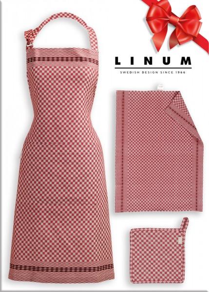 Geschenk Set CULINA von LINUM - Latzschürze,Geschirrtuch und Topflappe in Rot