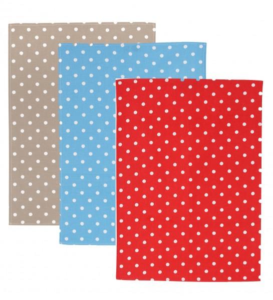 Küchentücher, Punkte in 3 Farben/ Halbleinen