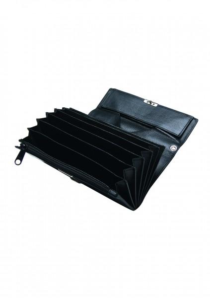 Kellnerbörse 6-Fächer, echtes Rindsleder in schwarz