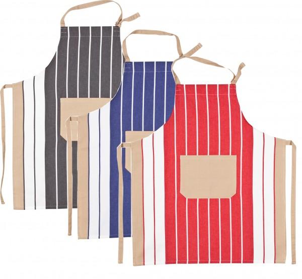 Kochschürze - Streifenschürze in 3 verschiedenen Farben/ 100% BW