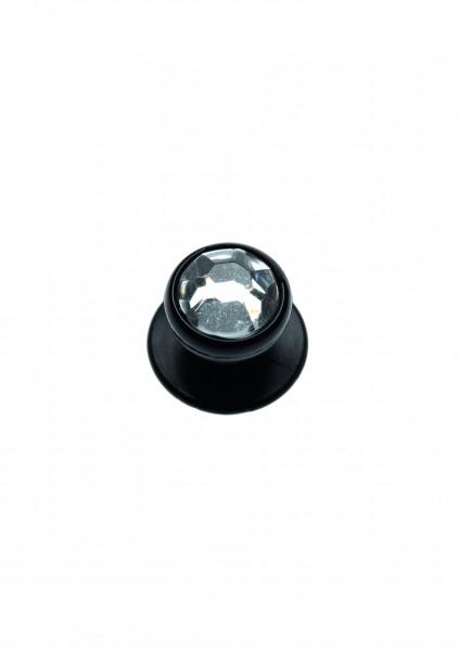 12x Kugelknopf schwarz mit Straßimitat weiß