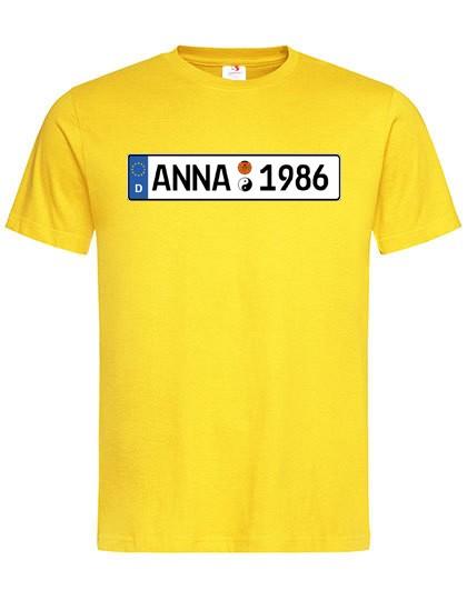 """T-Shirt """"Autoschild mit ihrem Wunschtext"""" in 8 versch. Farben/ Unisex"""